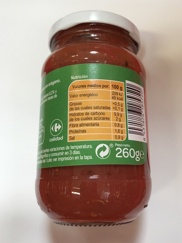 Salsa de tomate y orégano para pizza Carrefour
