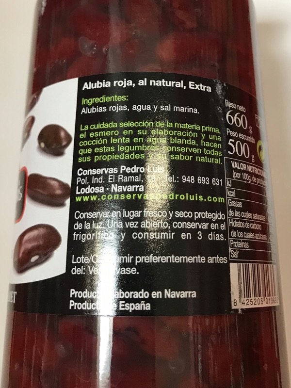 Alubia roja cocida Pedro Luis