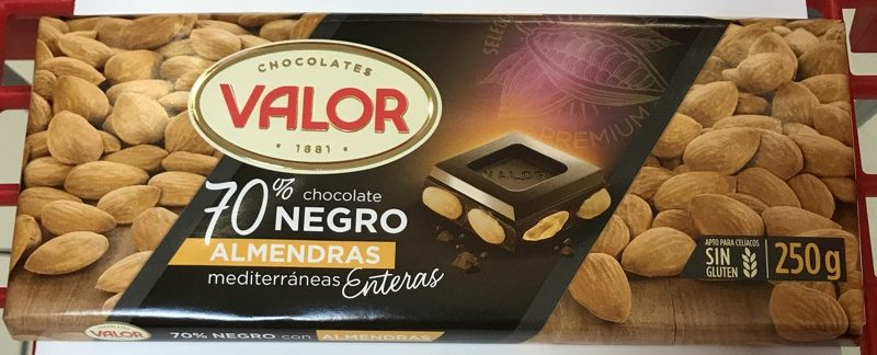 Chocolate Valor 70% con almendras