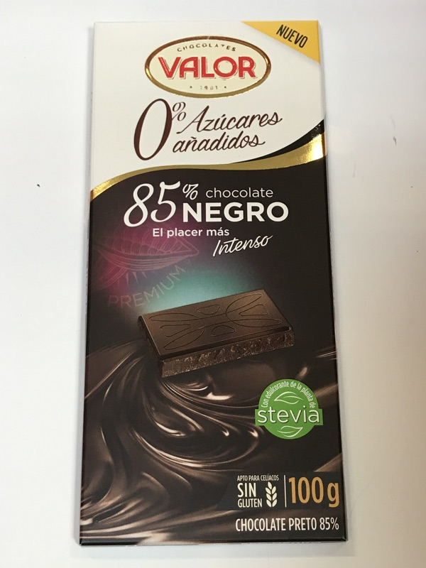Chocolate Valor 85% sin azúcar añadido