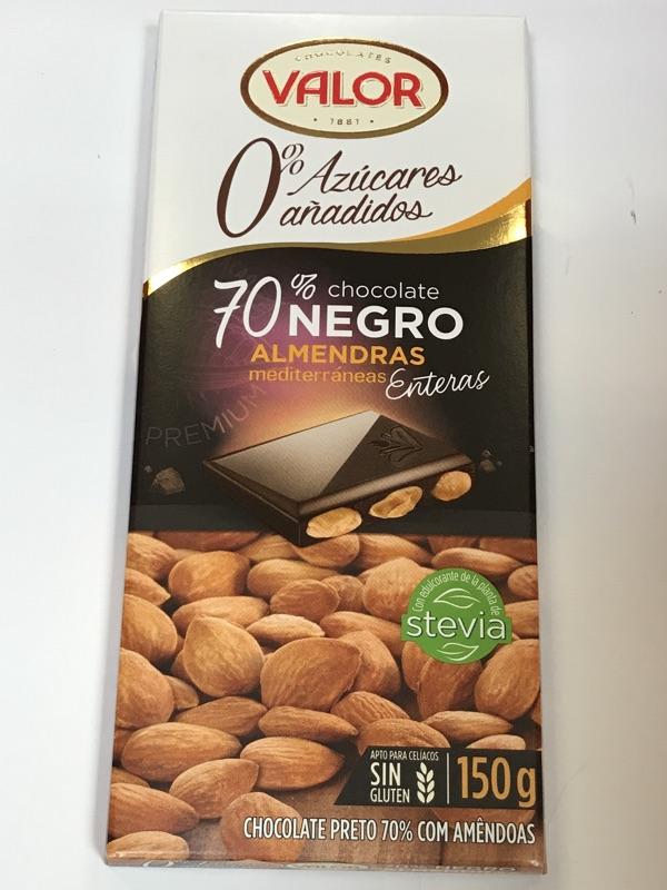 Chocolate valor 70% con almendras sin azúcar añadido