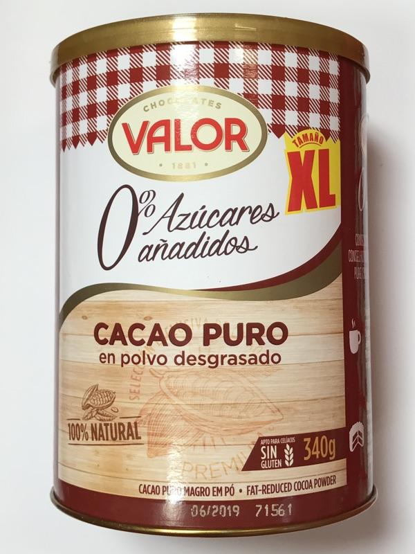 Cacao puro en polvo Valor sin azúcar añadido