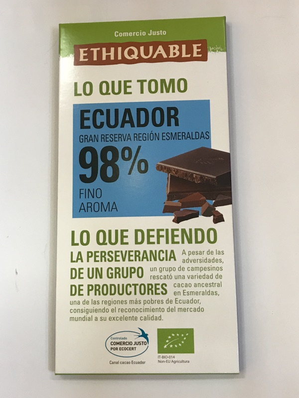 Chocolate Ecuador 98% Ethiquable