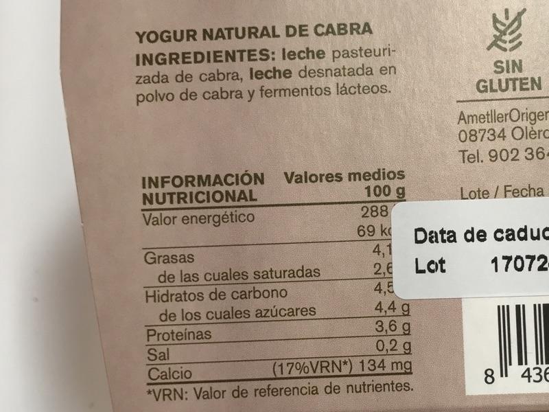 Yogur de cabra Ametller