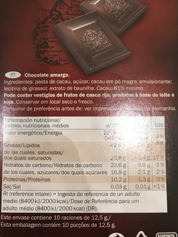 Chocolate 81% Arriba Superieur