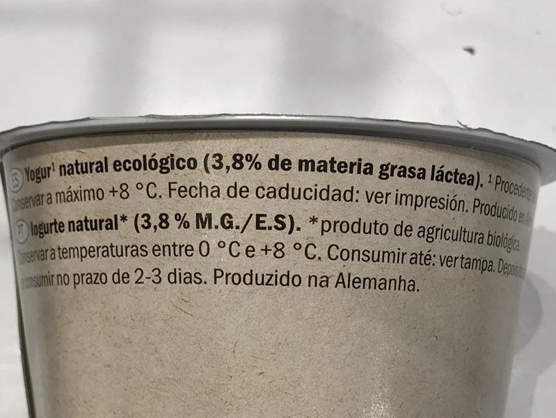 Yogur natural bio Milbona