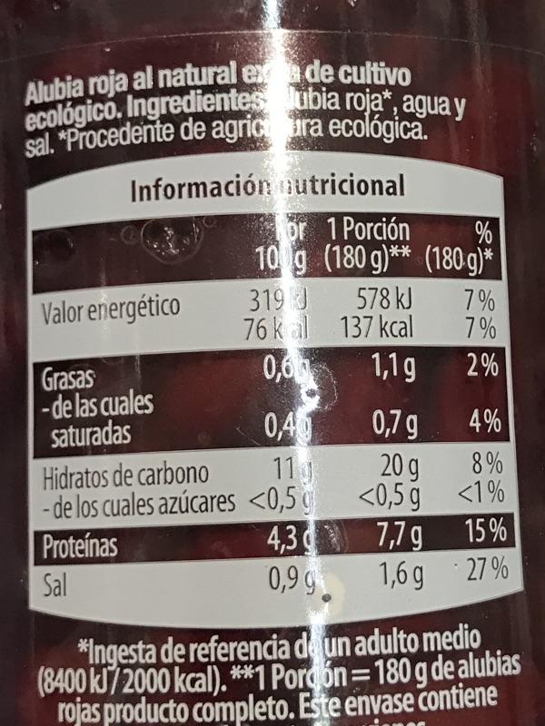 Alubia roja cocida GutBio