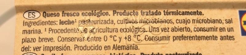 Queso de untar Milbona bio etiqueta